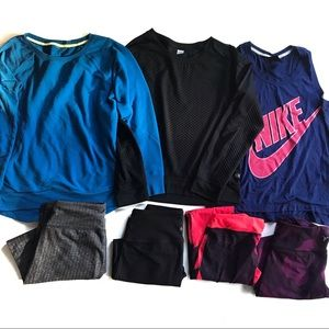 SEVEN Piece Work Out Athletic Leggings Tops Lot!